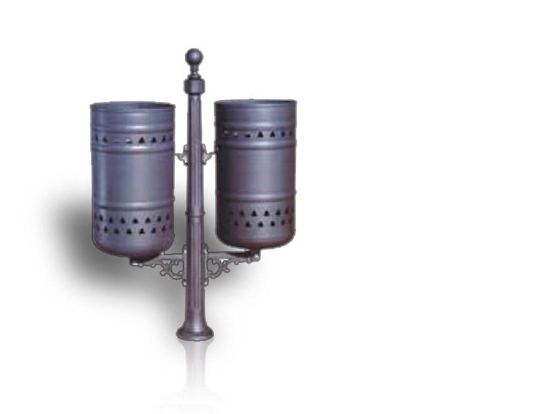 Art 710 cestino liberty doppio palo ghisa per parchi e for Marinelli arredo urbano